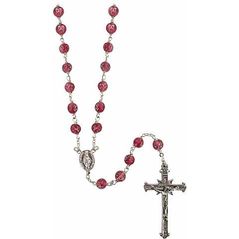 Rosario in argento 925 con grani mm 6 on vetro rosa con piccole rose