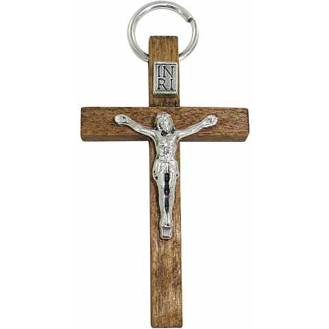 Croce in legno color naturale con Cristo - 4,5 cm