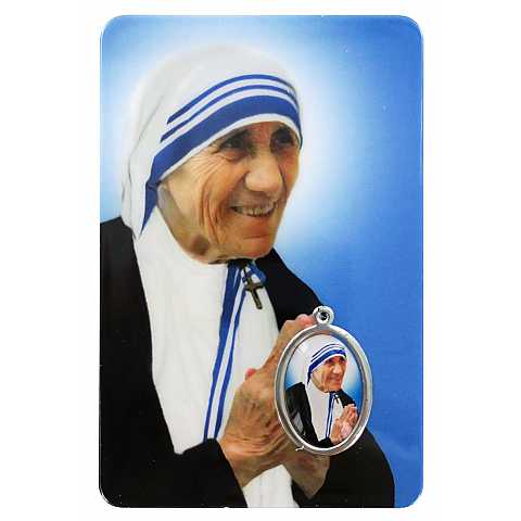 Card Madre Teresa di Calcutta in PVC - 5,5 x 8,5 cm - francese